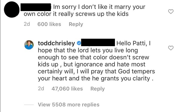 Todd Chrisley responded to a racist comment about his granddaughter.