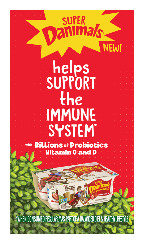 Super Danimals yogurt features healthy probiotics to help support you child's immune system.