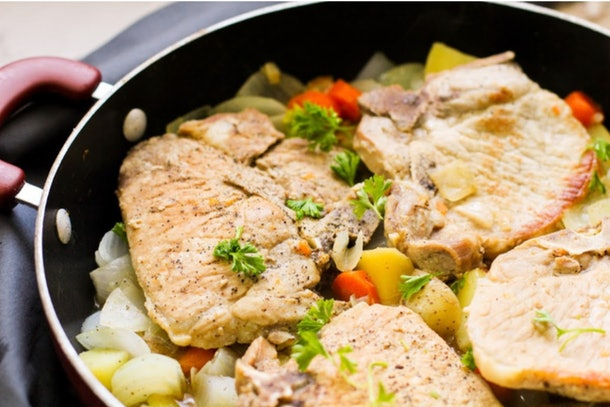 One pot pork chops and vegetables from Family Fresh Meals is a one-pot meal to make without pasta.