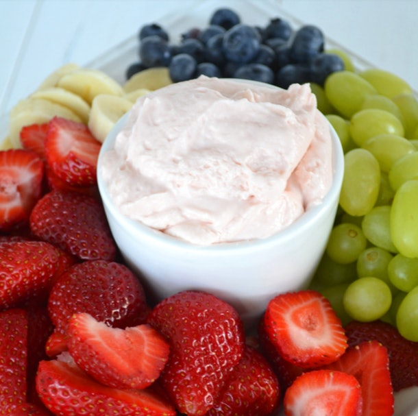 This 3-ingredient strawberry fluff fruit dip is a perfectly refreshing summer dip recipe.