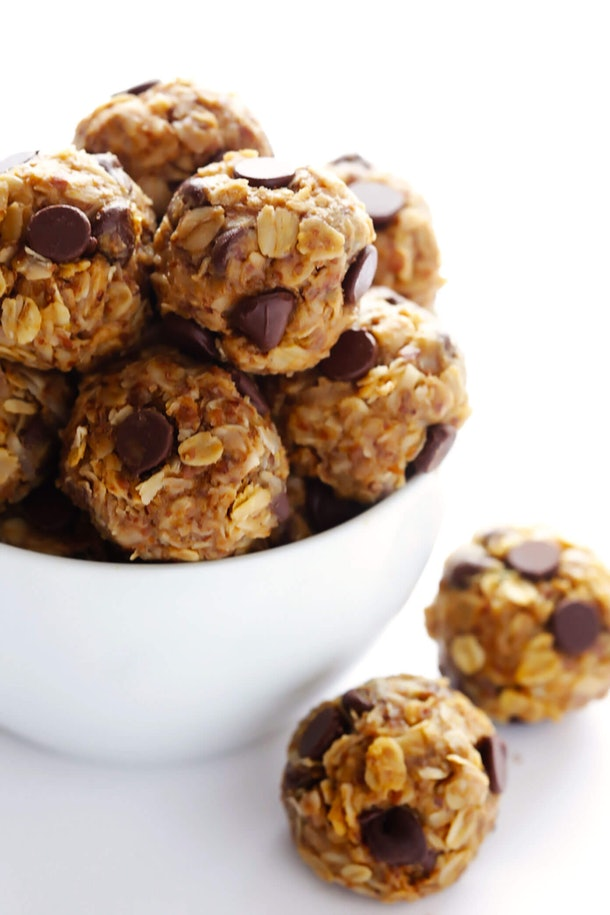 Small balls of oats dotted with chocolate chips.