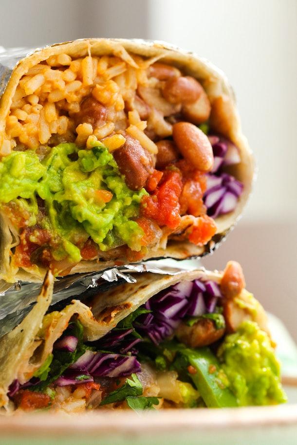 closeup of a vegetarian burrito