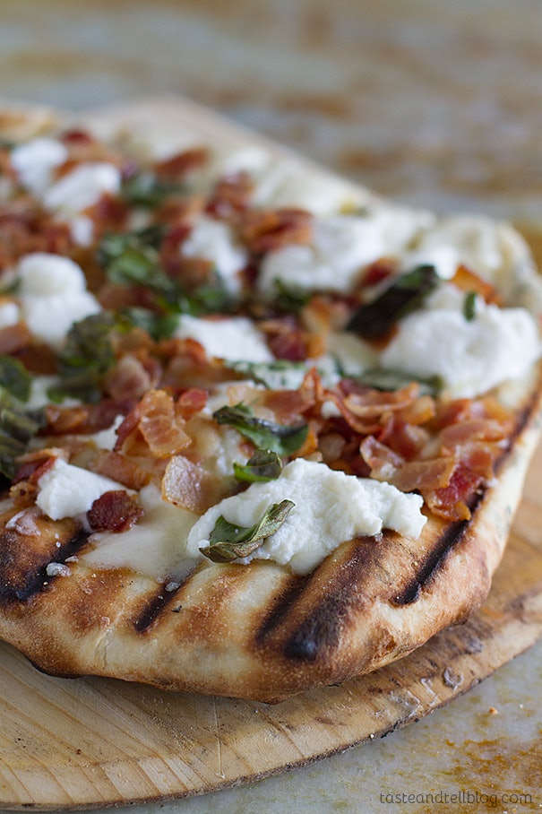 Grilled white pizza with bacon