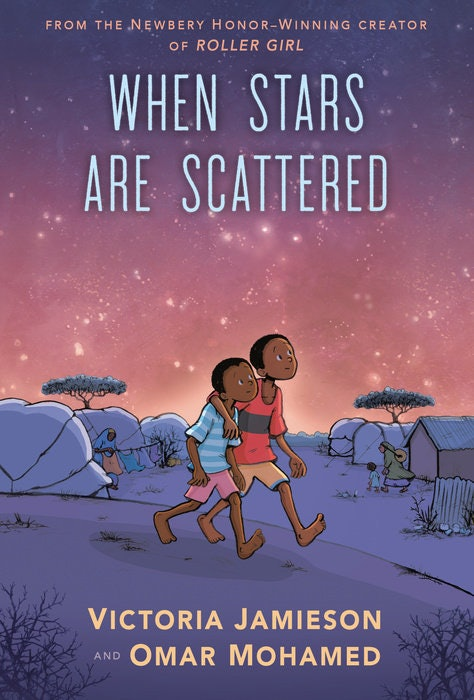 When Stars Are Scattered cover featuring two boys walking under night sky