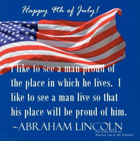 Words from the 16th President make up this patriotic 4th of July meme.