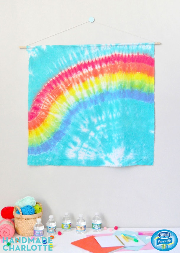 Tie-dye tapestries are a fun tie-dye craft to do with your kids.