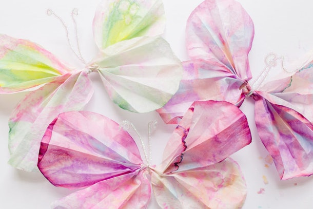 Coffee filter butterflies are an easy tie-dye craft to enjoy with kids.