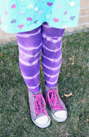 DIY tie-dye tights are an easy tie-dye craft to do with your kids.