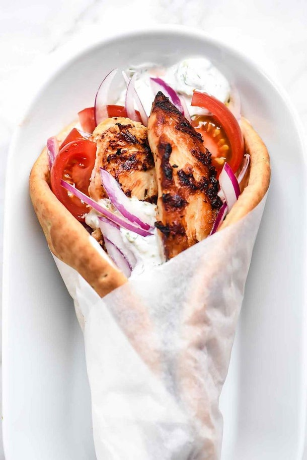 Easy chicken gyros are one summer dinner you can have on the go.