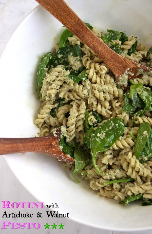 Rotini With Artichoke and Walnut Pesto is ideal for a summer dinner you can have on the go.
