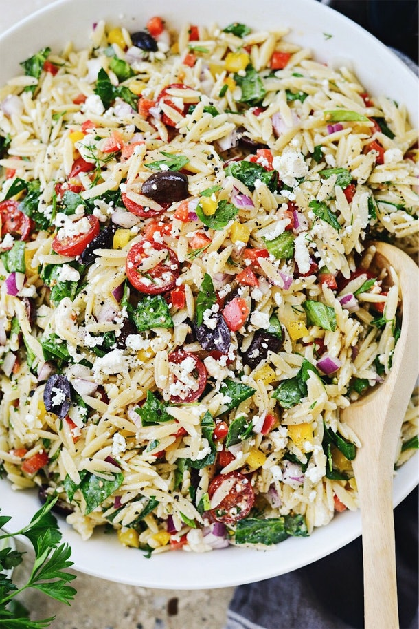 Greek Orzo Salad is a refreshing summer dinner you can have on the go.