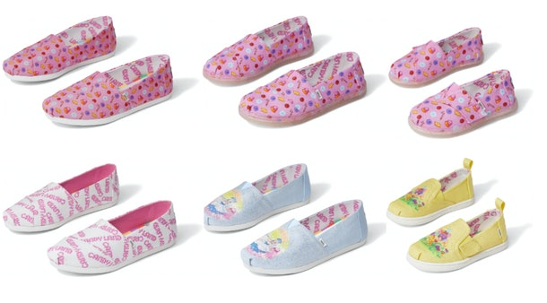 Six pairs of TOMS x Candy Land shoes in various sizes and patterns