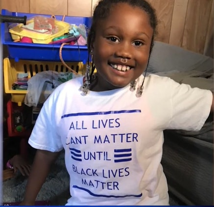 "A young girl could not return to her child care center after wearing a ""Black Lives Matter"" t-shirt."