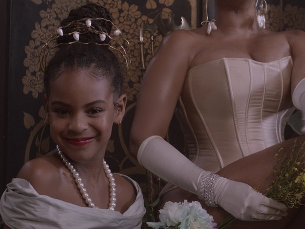 Blue Ivy wears matching outfits with her mom throughout 'Black Is King'.