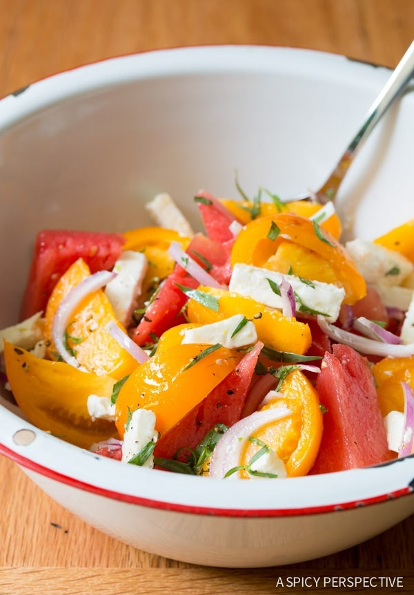 Watermelon Feta Salad with golden tomatoes and tarragon is one recipe to use up your watermelon this summer.