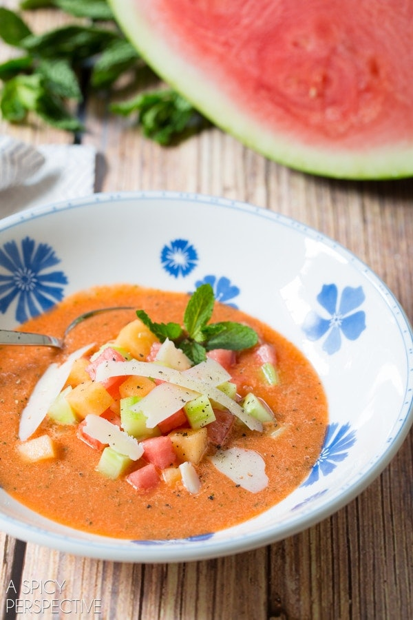 Watermelon Gazpacho is one recipe you can make to use up your watermelon.