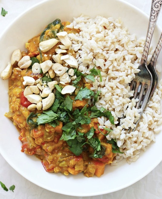 Sweet potato spinach curry in the crock-pot can be made on school nights
