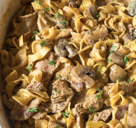 Slow Cooker Beef Stroganoff is an easy back to school recipe