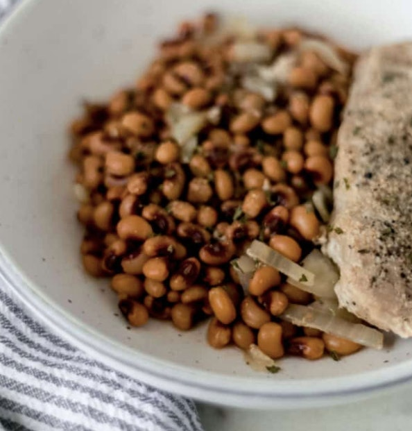 black-eyed peas and pork chop can be made in the slow-cooker on school nights