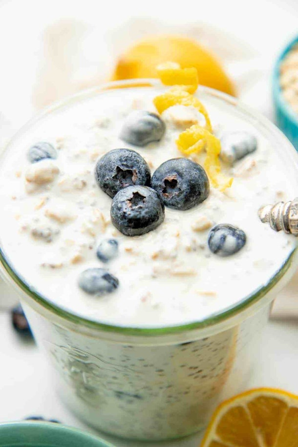 Blueberry Overnight Oats is an easy recipe for breastfeeding moms.