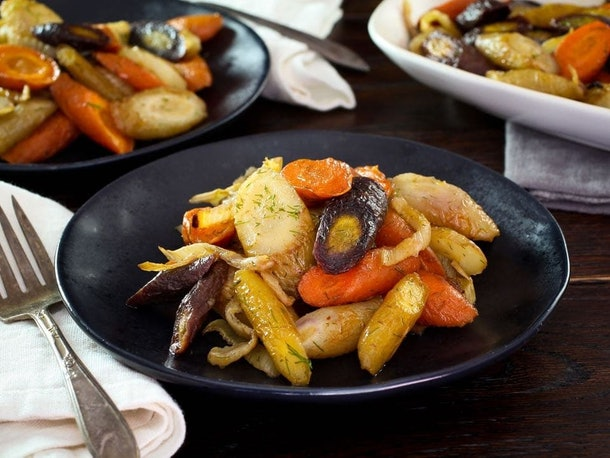 Spicy Roast Carrots and Fennel is an easy recipe for breastfeeding moms.