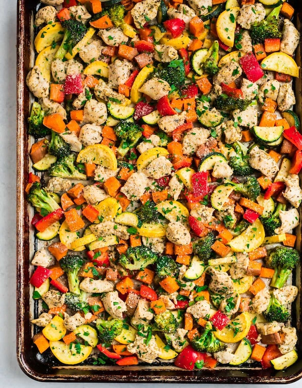Sheet Pan Chicken With Rainbow Vegetables is one easy recipe for breastfeeding moms.