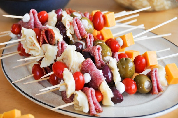 Antipasto skewers are an easy recipe for breastfeeding moms to make.