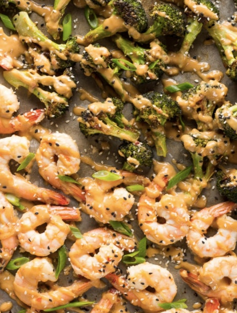 Sheet pan peanut sauce shrimp and broccoli
