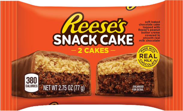 an image of a wrapper for Reese's new snack cake in signature Reese orange with a picture of the snack cake on the front.