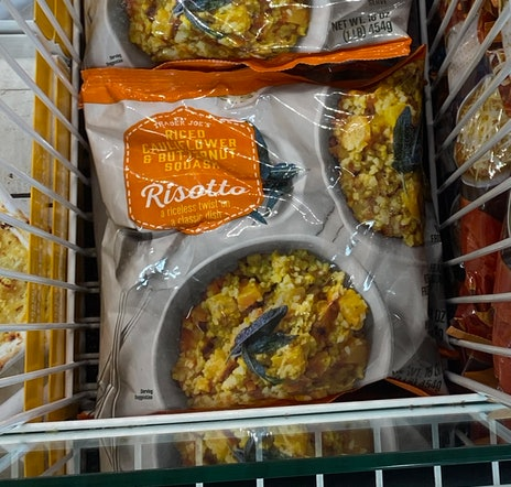 An image of bags of riced cauliflower and butternut squash frozen mix.