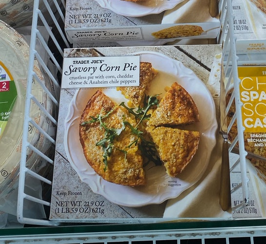 An image of a box of frozen Trader Joe's Corn pie.