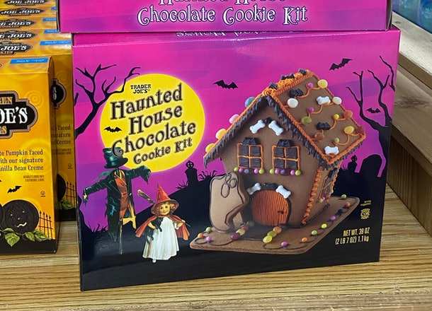 An image of boxes of Halloween gingerbread house kits.
