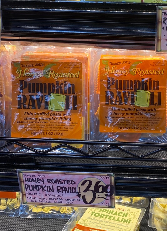 an image of packages of pumpkin ravioli.