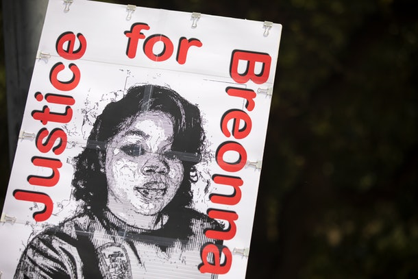 A black and white protest sign with Breonna Taylor and the words Justice For Breonna.