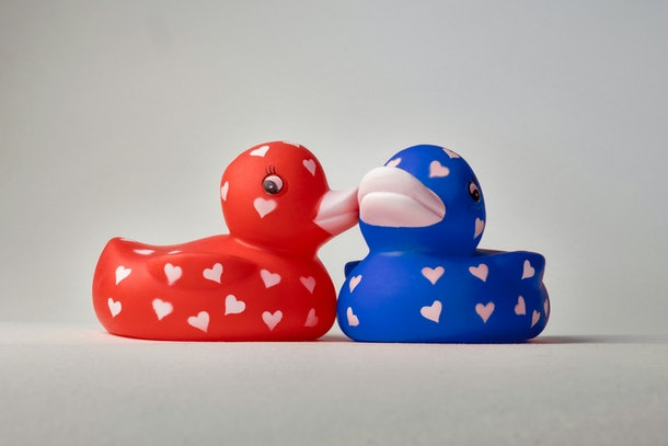 Love ducks with hearts on their bodies, whispering, kissing on cheek