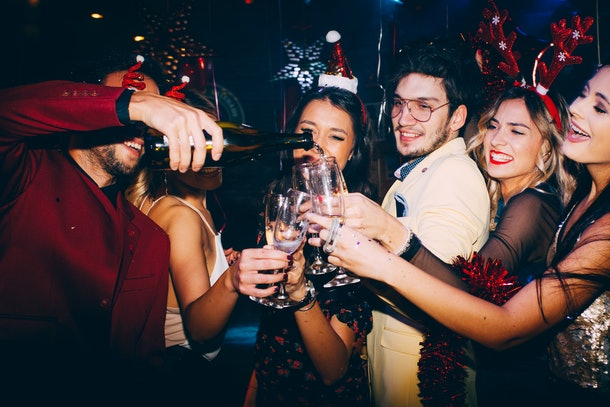 Group of friends having fun at New Year's party