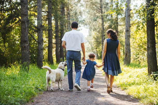 Happy family with dog walking in the Park