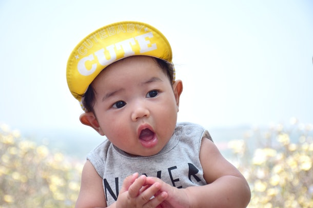 Asian cute baby are happiness with natural