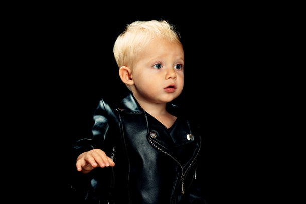 rock and roll toddler in a motorcycle jacket